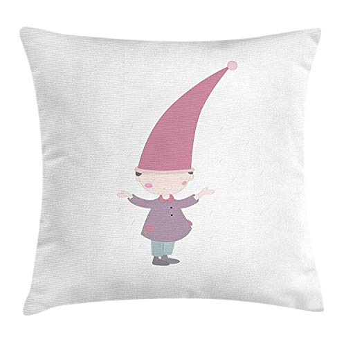ZTLKFL Kids Throw Pillow Cushion Cover, Little Cartoon GNOME Character Illustration with a Big Pink Hat Standing Under Rain, Decorative Square Accent Pillow Case, 18 X 18 inches, Multicolor