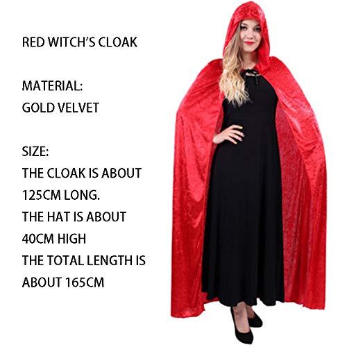 qys Halloween-Umhang Cosplay Weihnachtskostüm Langer Mantel des Todes Zauberer Hexe Prinz Prinzessin Umhang(Red,165cm)