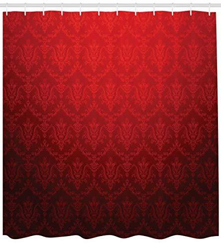 ABAKUHAUS Dunkelrot Duschvorhang, Antike Blumen Ombre, Hochwertig mit 12 Haken Set Pflegeleicht Farbfest Wasser Bakterie Resistent, 175 x 220 cm, Rot-Schwarzen -