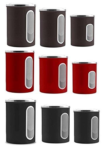 3tlg. Vorratsdosen Set Metall mit Sichtfenster Neu Farbe rot