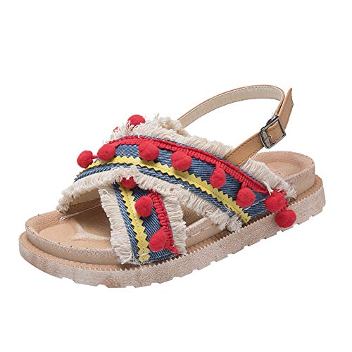 Sandales Femmes Plates,LANSKIRT Sandales Style National avec Glands Et Bout Ouvert Sandals Chaussures Plates Sandales à Bride