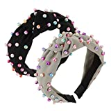 SYxiongsheng Effective 2 Pieces/Bag Faux Pearl Headband Colorful Artificial Pearl Headband Cross Knot Hairband Twisted Headband Turban Headband For Women Girls(None 2)