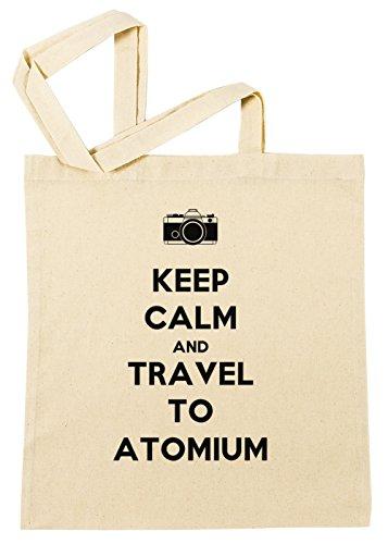 Keep Calm And Travel To Atomium Einkaufstasche Wiederverwendbar Strand Baumwoll Shopping Bag Beach Reusable