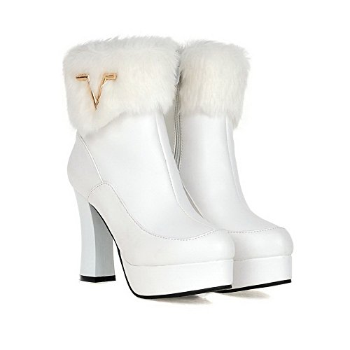 VogueZone009 Damen Hoher Absatz Rein Rund Zehe Blend-Materialien Reißverschluss Stiefel Weiß