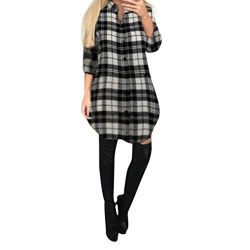 FORH Damen Elegant Karierte Sweatshirt Bluse Casual Langarm Trachtenhemd ButtonHemden Oversize Long Cardigan MiniKleid Freizeit Tartan Tunika Swing Hemdkleid Tops (Schwarz, L)