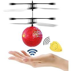 JAMSWALL Bola voladora RC, RC Flying Juguetes, Niños Música Flying Ball, Drone HelicóPtero Bola de Vuelo Built-in Shinning Iluminación LED para Niños,RC Juguete para niños Adolescentes (Rojo)