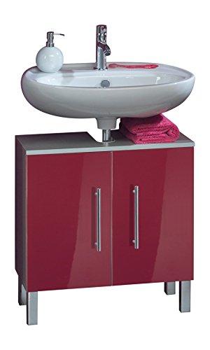 Kesper Badmöbel 3570910303801000 Waschbeckenunterschrank Siena, 2 Türen, 62,5 x 60 x 31,3 cm, alu / rot
