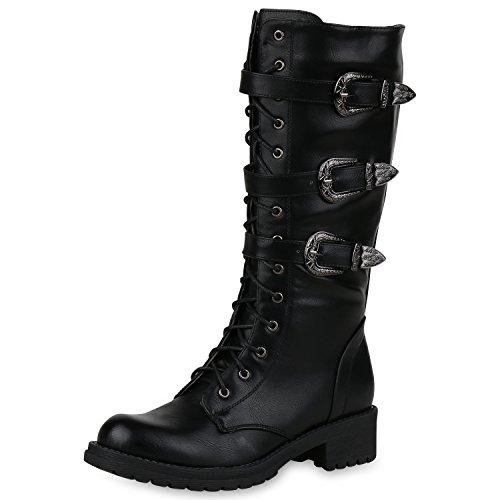 SCARPE VITA Damen Schnürstiefel Biker Boots Schnallen Metallic Stiefel 164565 Schwarz Metallic 37