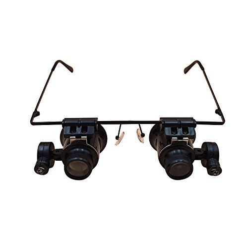Xhh Lupe mit Kopfbefestigung / 20-Fach-Lupe/LED-Licht Schmuck Bewertung Lupe/Mikroskop Brille/Zeitmesser Wartung Lupe