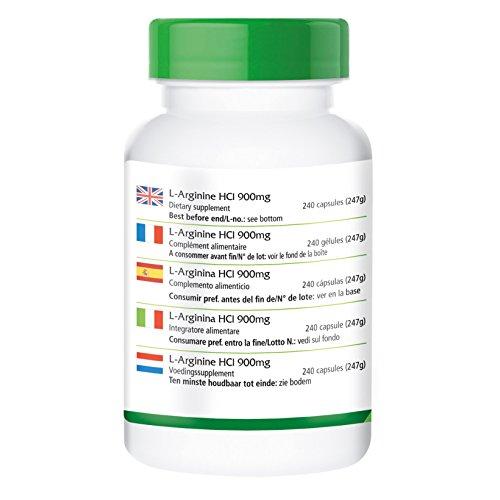 L-Arginin-HCl 900mg – für 48 Tage – VEGAN – HOCHDOSIERT – 240 Kapseln