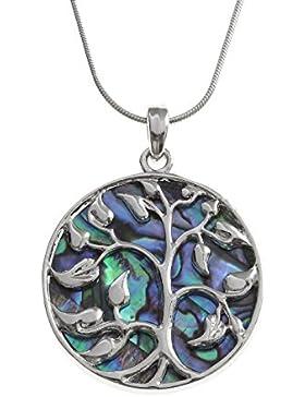 Kiara Jewellery Zweiseitiger Keltischer Lebensbaum Anhänger Eingelegt Auf Beide Seiten Mit Bläulich Grüne Paua...