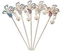 EOZY 3pcs Épingle Pince Cheveux Femme Fille Bâton Fleur Cristal Perle Acrylique Chinois Antique (#2)