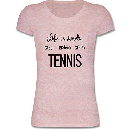 Sport Kind - Life is Simple Tennis - 152-164 (12-14 Jahre) - Rosa meliert - F288K - Mädchen T-Shirt