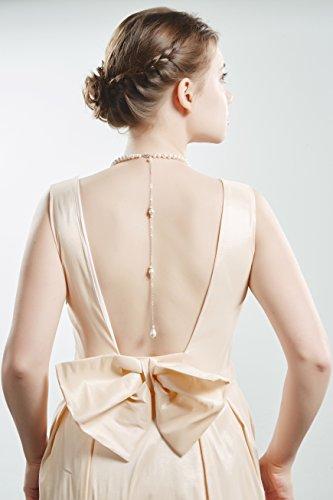 Collar de perlas en forma de Y con caída en la espalda, nupcial