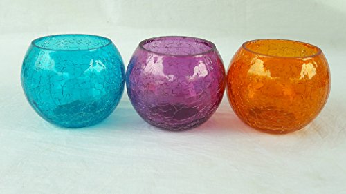 Colourful Glass Set Of Three Diwali Tea Light Candle Holder/ Diwali Tea Light Holder/ Decorative Tea Light Holder