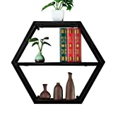 WXL Iron Art Regal - Kleines Regal frei Kombinierbar Wandhalterung Wohnzimmer Double Layer Bücherregal Weinregal Hexagon Regal WXLV (Farbe : SCHWARZ)