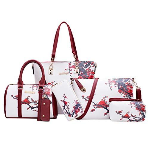 Kairuun Damen Große Kapazität Sechs-Teilige Handtasche Einfach Freizeit Sommer Umhängetasche Handtasche Brieftasche Schlüsselfall Einkaufstasche Kupplung Tasche Kit 2#Weiß