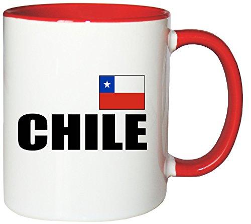 Mister Merchandise Kaffeetasse Chile Fahne Flag Teetasse Becher, Farbe: Weiß-Rot