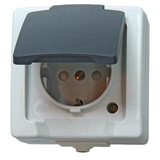 Kopp Nautic Steckdose für Feuchtraum, Aufputz, 1-fach Schutzkontakt-Steckdose mit Deckel & erhöhtem Berührungsschutz, 250V (16A), grau, 107856005