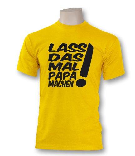 Luckja Herren T-Shirt Lass das mal Papa machen Gelb / Schwarz