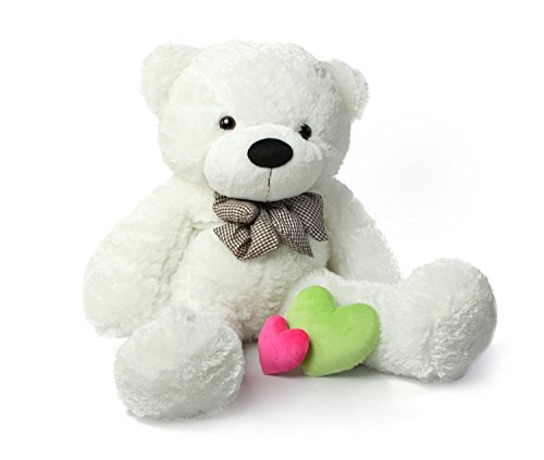 Hug mee Riesen Sweety Teddybär Plüsch Toy Kuschelbär weiß/Braun/Rosa, 80/100/120 cm (Weiß, 120cm/47'')