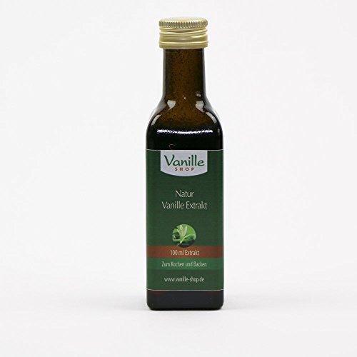 100ml Natur Vanille Extrakt / aus echten Natur Vanilleschoten gewonnen / Aromastarkes Konzentrat / zähflüssiger, süsslicher Extrakt aus echten Vanilleschoten / zum Backen und Kochen / Für Getränke, z.B. Tee oder Cocktails