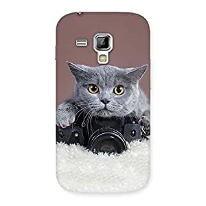 Stylish Kitty Photographer Multicolor Back Case Cover for Galaxy S Duos