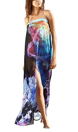 Hikong Copricostume e Pareo Mare Donna Chiffon Fiore Stampato Costumi da Bagno Spiaggia Coprire Bikini Cover Up Beachwear, blu 110x130cm
