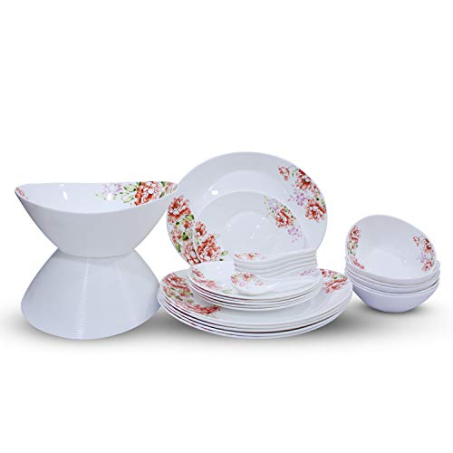 Soogo Opalware Dinner Set, 26-Pieces, White and Red