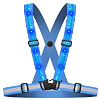 WenderGo LED Reflective Vest,Adjustable High Visibility Safety Vest Waist Belt Stripes for Outdoor Jogging, Cycling, Walking, Motorcycle Riding and Running (Blue)