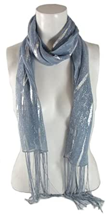 BB Accessories Pashmina Scarf with Silver Metallic Pattern - Blue