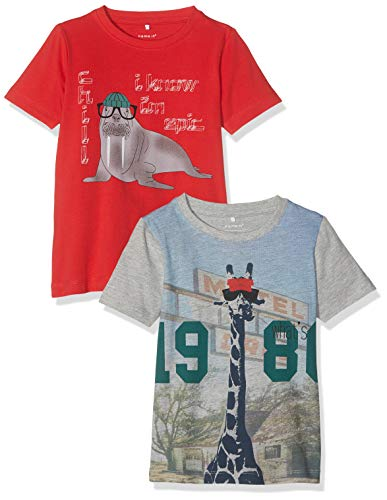 NAME IT Baby-Jungen Nmmkarlo Ss Top Camp 2 Pack T-Shirt, Rot (Mars Red Detail: Pakced with Grey Melange), (Herstellergröße: 98) (2er Pack)