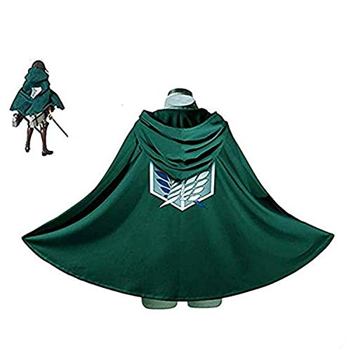 Formesy Attack On Titan Shingeki No Kyojin Cosplay Aufklärungstrupp Umhang, Anime Manga Verkleidung Grün (Grün, S(150~163cm)) (Attack On Titan Kostüm Cape)