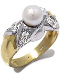Perles Bague Femme en Or 18 carats Blanc/Jaune avec Perle de Culture et Zircon Blanc
