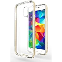 Funda Galaxy S5 Neo - Azorm Hybrid Edition Oro - Bumper con Efecto Metálico, Transparente, Resistente a los arañazos en su parte trasera, Amortigua los golpes - funda protectora de silicona anti-golpes para Samsung Galaxy S5 Neo New