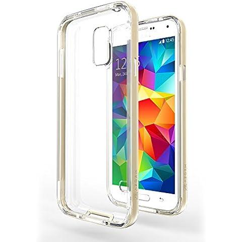Funda Galaxy S5 Neo - Azorm Hybrid Edition Oro - Bumper con Efecto Metálico, Transparente, Resistente a los arañazos en su parte trasera, Amortigua los golpes - funda protectora de silicona anti-golpes para Samsung Galaxy S5 Neo