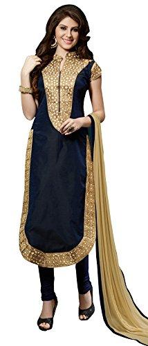 Blissta Dark Blue Embroidered Chanderi Salwar Suit Dress Material