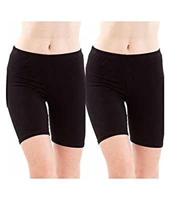 ROOLIUMS ® (Brand Factory Outlet -Biowashed 220 GSM Cotton Lycra Girls/Women Cycling, Yoga, Jogging Shorts/Tights, 4 Way Stretchable Shorts (Pack of 2 - Black) Free Size