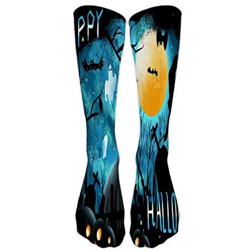 Halloween Socken Unisex 3D Print Kürbis Fledermäuse Zauberer Muster Lange Stiefel Crew Socke Weiche Stretchy Neuheit Baumwolle Casual Knöchel Gemütliche Sportsocken -