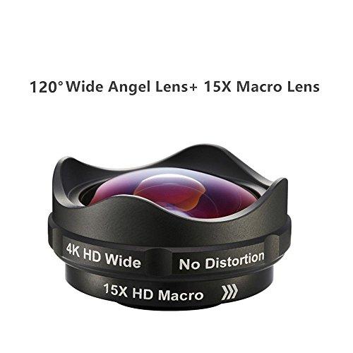 aikeglobal 2in 1Kamera Objektiv, 0,55x 120° Weitwinkel + 15x Makro Universal Wechselrahmen Handy Objektiv-Set für Samsung, Android, IPHONE