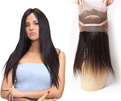 360 Lace Frontal Straight Closure Tissage With Baby Hair Brasilianischen 100 Virgin Remy Naturel Human Hair 10 pouces