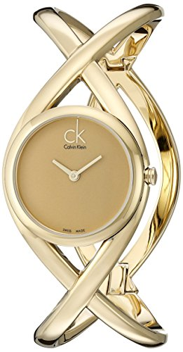 Calvin Klein Women's Quartz Watch with Gold Dial Analogue Display and Gold Stainless Steel Bracelet K2L23509