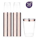 DRROT - Vasos de plástico transparente,oro rosa, 50 unidades, vasos de plástico con borde desmontables,para fiesta de cumpleaños/boda al aire libre/cena familiar 50pack oro rosa