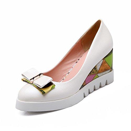 VogueZone009 Femme Pu Cuir à Talon Haut Rond Couleur Unie Tire Chaussures Légeres Blanc