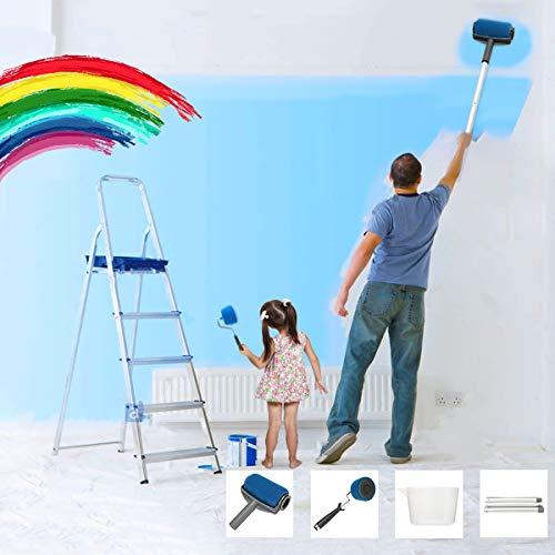 Essort rullo per pittura con serbatoio professionale, rulli per verniciare, pennello a rullo da pittura, 6 set di kit rulli per pittura murale blu
