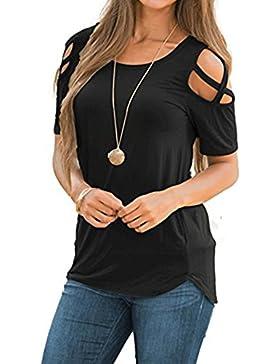 Maglietta da Donna Corta - Maglietta da Donna a Maniche Corte Basic T-Shirt con Scollo A V Tee a Freddo Maglietta...