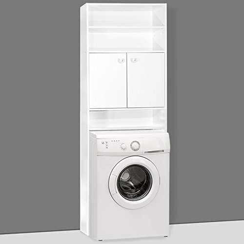 *Waschmaschinenschrank Badezimmerschrank für Waschmaschine | 195 x 63 x 20 cm | Farbe: weiß | 3 Regalböden, davon 1 verstellbar*