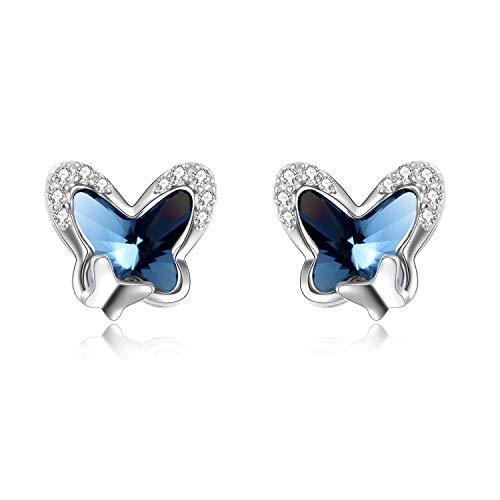 Schmetterling Ohrstecker Sterling Silber Ohrringe Damen mit Swarovski-Kristallen, Schmuck Geschenke für Frauen Mädchen