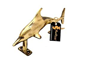 Two Moustaches Dolphin Design Brass Door Handle