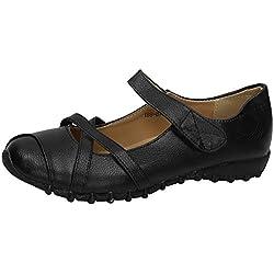 ZAPATOP 188-8 Zapatos CÓMODOS Mujer Zapatos MOCASÍN Juanetes Negro 38